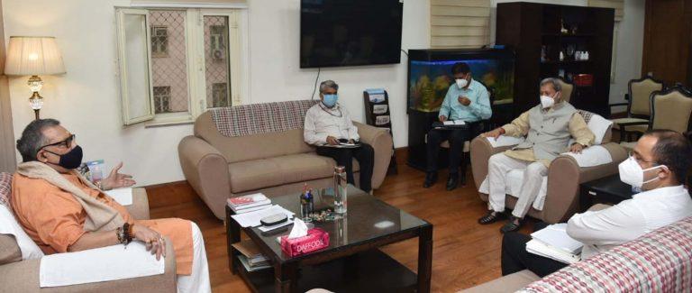 मुख्यमंत्री तीरथ सिंह रावत ने नई दिल्ली में केंद्रीय मंत्री पशुपालन गिरीराज सिंह से भेंट की