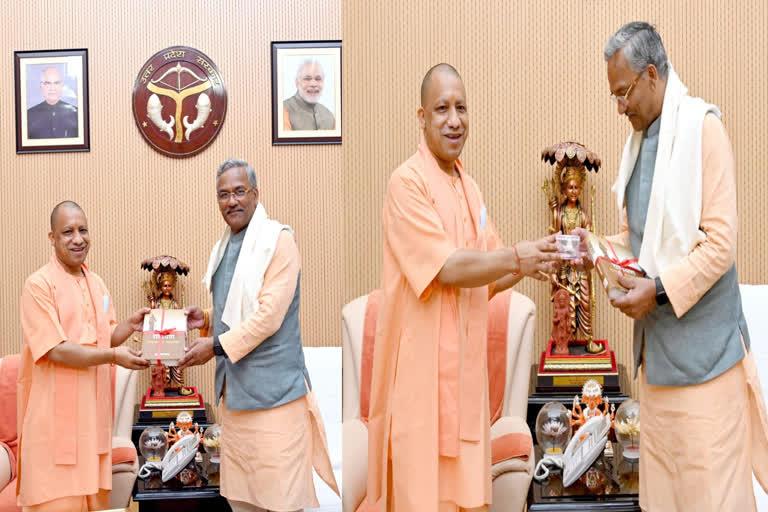 पूर्व सीएम त्रिवेंद्र ने योगी आदित्यनाथ से की मुलाकात, चुनावों को लेकर चर्चा
